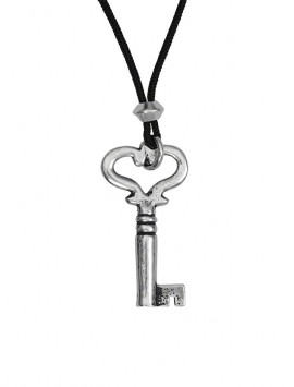 Pewter Heart Key Pendant